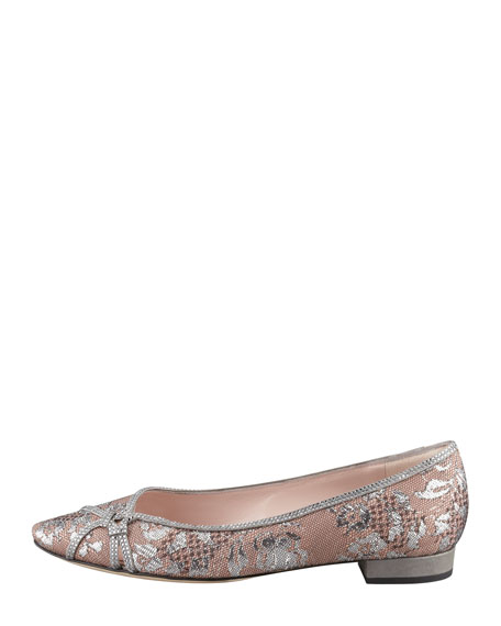 Jewel-Trim Lace Skimmer, Silver