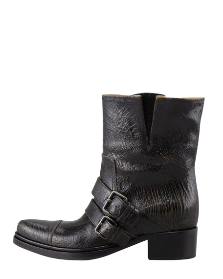 Crackled Double-Buckle Moto Boot