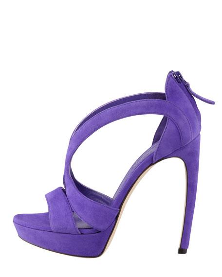 Double-Arched Suede Sandal, Purple