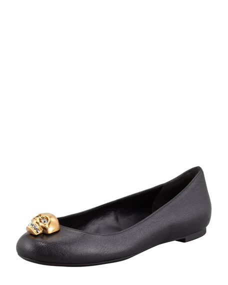 Skull-Toe Ballerina Flat, Black