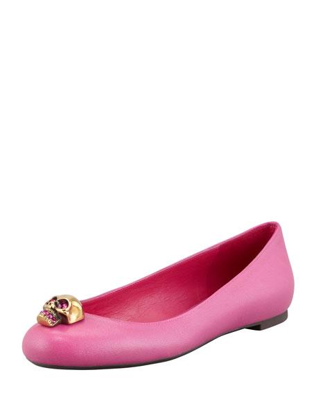 Skull-Toe Ballerina Flat, Pink