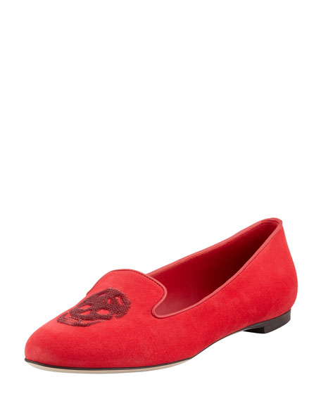 Embroidered Sequined Skull Smoking Slipper, Red