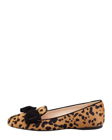 Leopard-Print Calf Hair Bow Smoking Slipper, Black