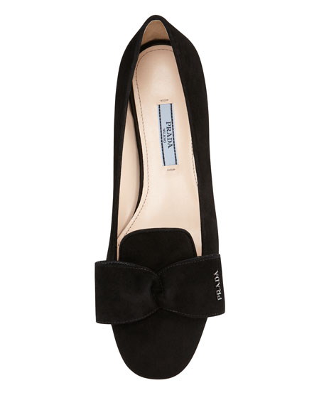 Suede Hidden Wedge Bow Smoking Slipper, Black
