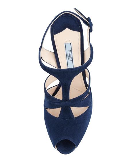 Suede Caged Platform Slingback Sandal