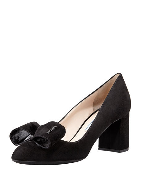 Suede Block-Heel Bow Pump