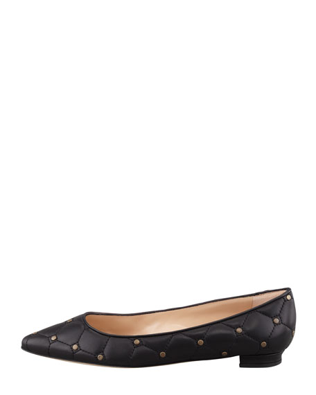 Titto Quilted Studded Pointy Flat