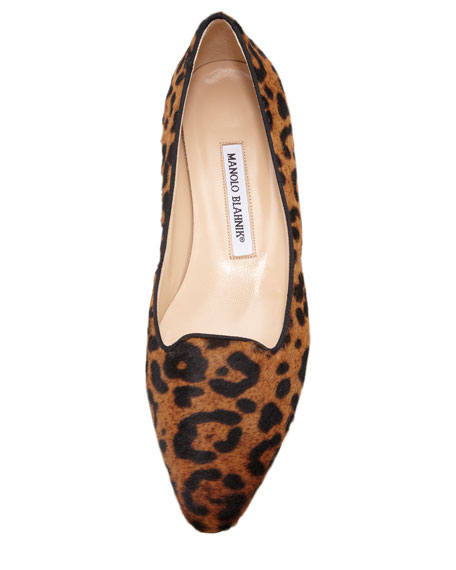 Sharifma Leopard-Print Calf Hair Slipper