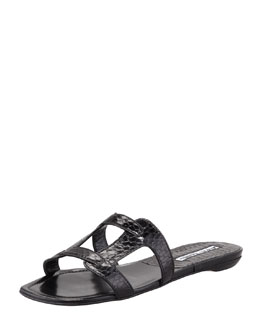 Manolo Blahnik Grella Watersnake Piece Flat Slide, Black