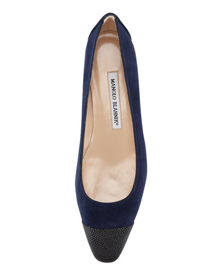 Lee Stingray-Capped Suede Flat, Navy/Black