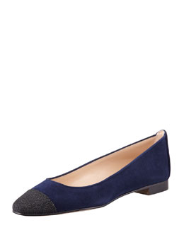 Manolo Blahnik Lee Stingray-Capped Suede Flat, Navy/Black