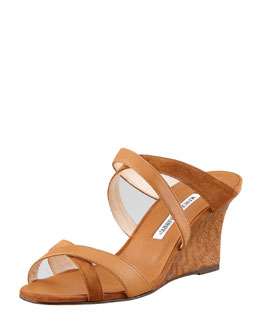 Manolo Blahnik Varchi Mixed-Media Wedge Mule