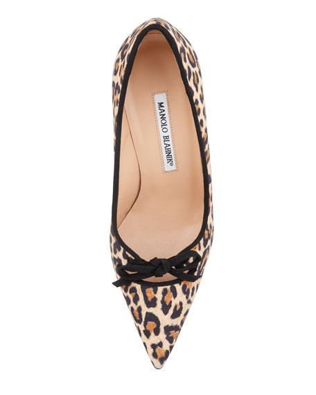 Bori Leopard-Print Bow Mid-Heel Pump