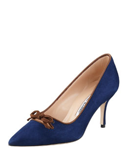 Manolo Blahnik Bori Piped Suede Bow Mid-Heel Pump, Blue