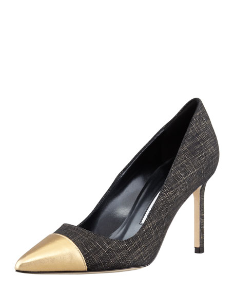 Bipunta Linen Metallic Cap-Toe Pump