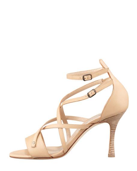 Pugliamo Strappy Leather Sandal, Beige
