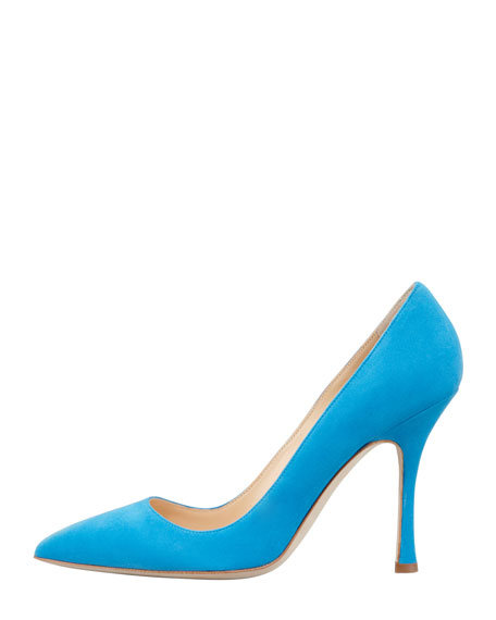 BB Suede Pointed-Toe Pump, Turquoise