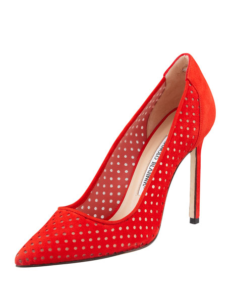 BB Perforated Suede Pump, Red