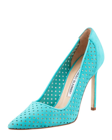 BB Perforated Suede Pump, Teal