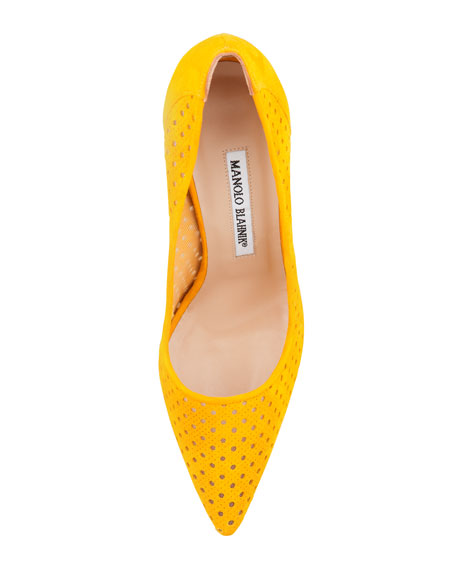 BB Perforated Suede Pump, Ochre