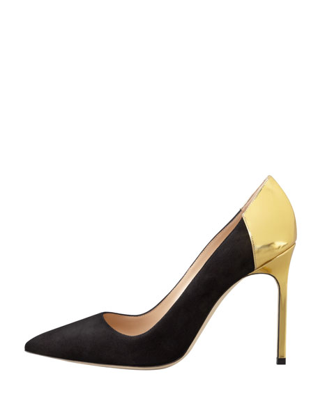 BBmal Suede and Specchio Pump, Black/Gold