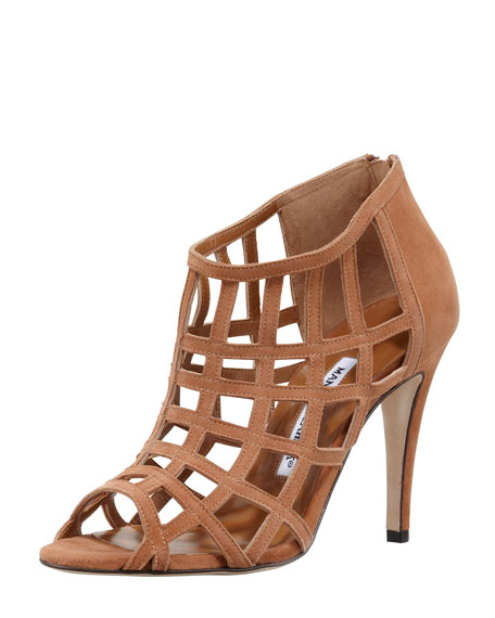 Poslyna Suede Cage Bootie