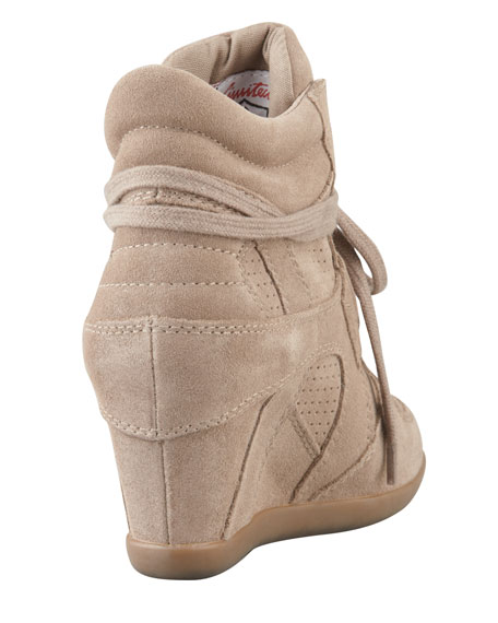Bowie Suede & Canvas Wedge Sneaker, Taupe