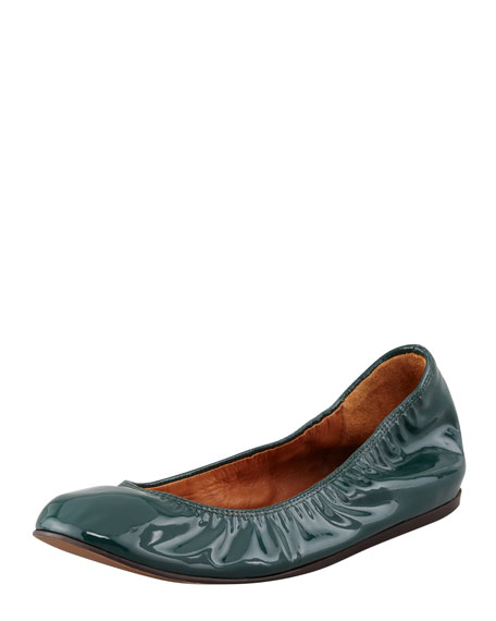 Scrunched Patent Leather Ballerina Flat, Dark Green