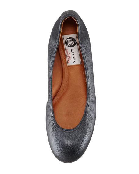 Classic Leather Ballerina Flat, Metallic Black