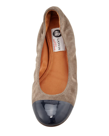 Suede-Patent Cap-Toe Ballerina Flat