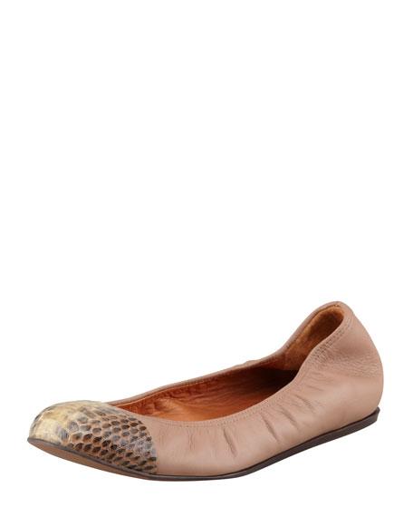 Leather Snake-Toe Ballerina Flat, Moka