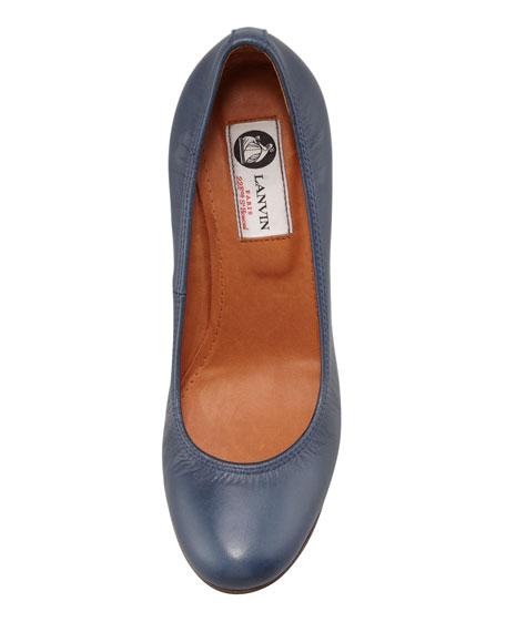 Calfskin Ballerina Wedge Pump, Navy Blue