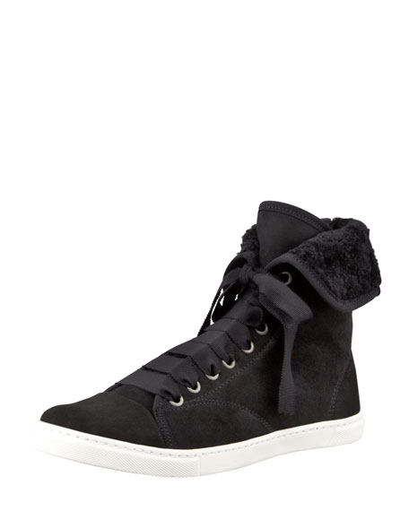 Suede Shearling-Lined High-Top Sneaker