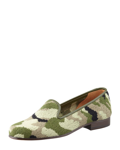 Camouflage Needlepoint Smoking Slipper