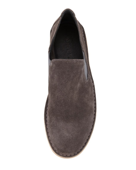 Mia Gored Suede Flat Slip-On, Charcoal Gray