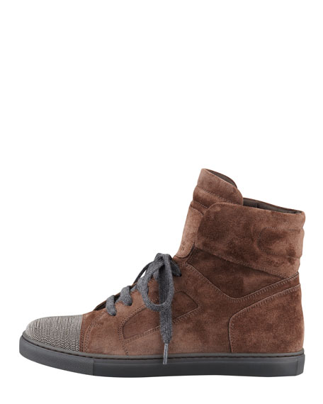 Suede Monili-Toe High-Top Sneaker