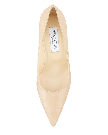 Abel Patent Pointy Pump, Nude