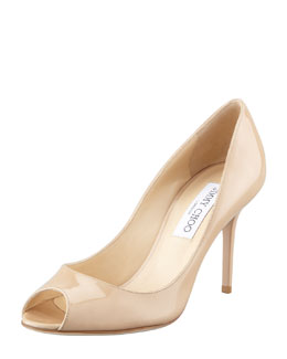 Jimmy Choo Evelyn Patent Peep-Toe Pump, Nude