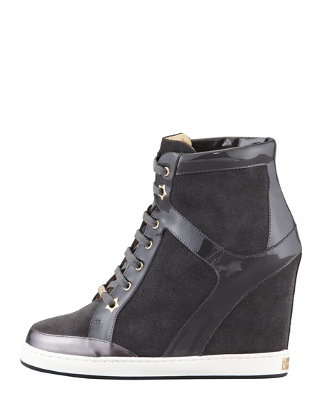 Panama Suede and Patent Wedge Sneaker