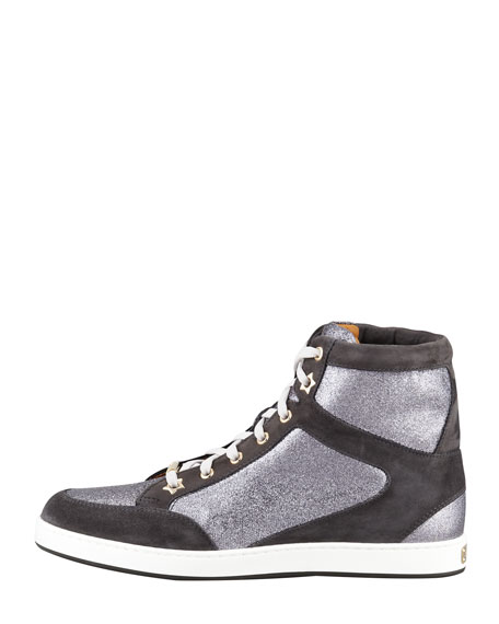 Tokyo Suede and Glitter High-Top Trainer