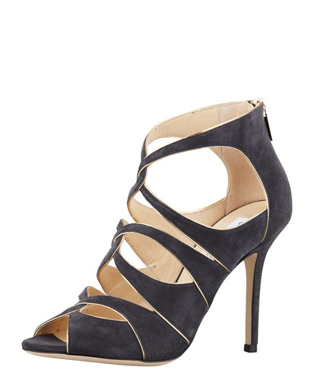 Leash Piped Cutout Sandal, Smoke