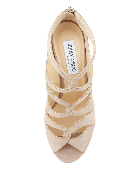 Leash Shimmery Cutout Sandal, Sand