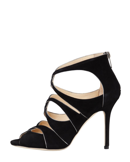 Leash Piped Cutout Sandal, Black