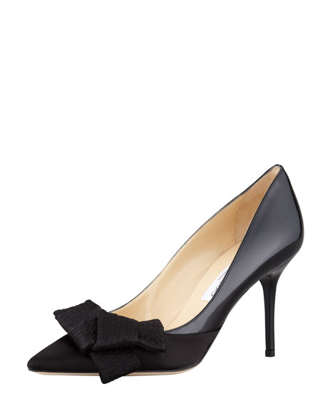 Fitz Satin-Patent Bow Pump, Black