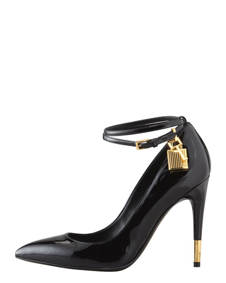 Padlock Ankle-Strap Pump, Black