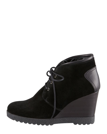 Cassie Suede Lace-Up Wedge Bootie