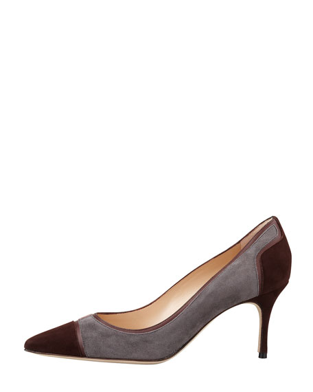 Dasti Tricolor Suede Patchwork Pump, Brown