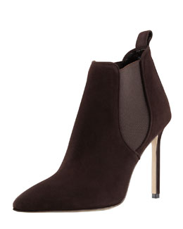 Manolo Blahnik Tungade Pointy Suede Ankle Boot, Dark Brown