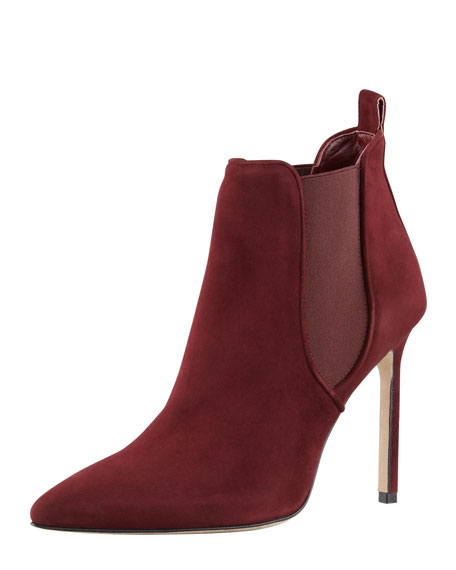 Tungade Pointy Suede Ankle Boot, Burgundy