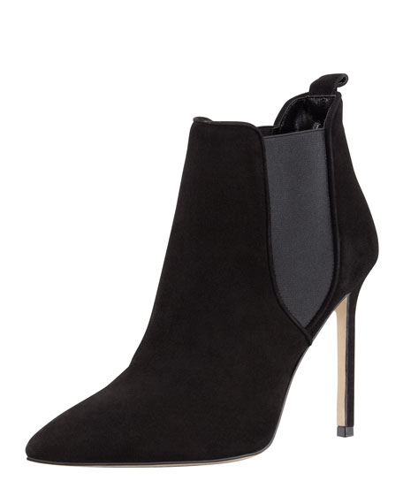 Tungade Pointy Suede Ankle Boot, Black